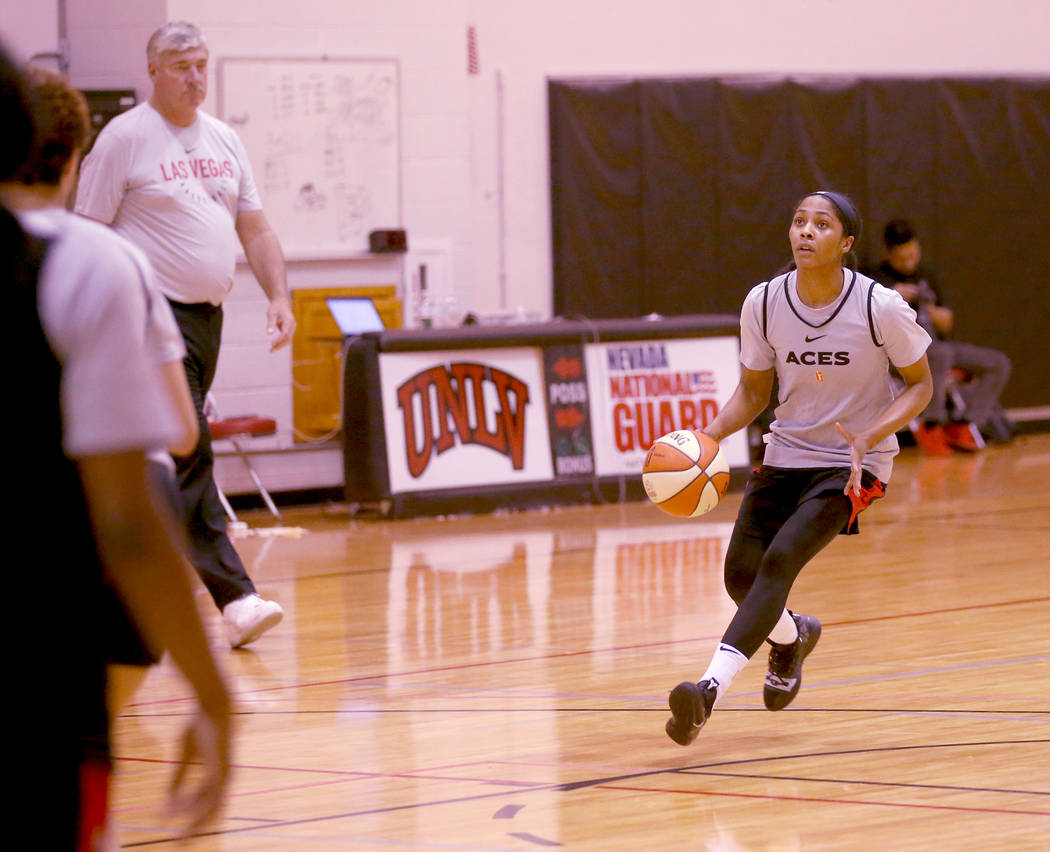 Veteran guard Sydney Colson looks to shoot during practice at the Cox Pavilion in Las Vegas Wed ...