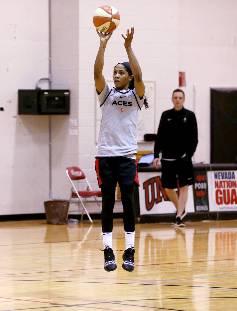 Veteran guard Sydney Colson shoots during practice at the Cox Pavilion in Las Vegas Wednesday, ...