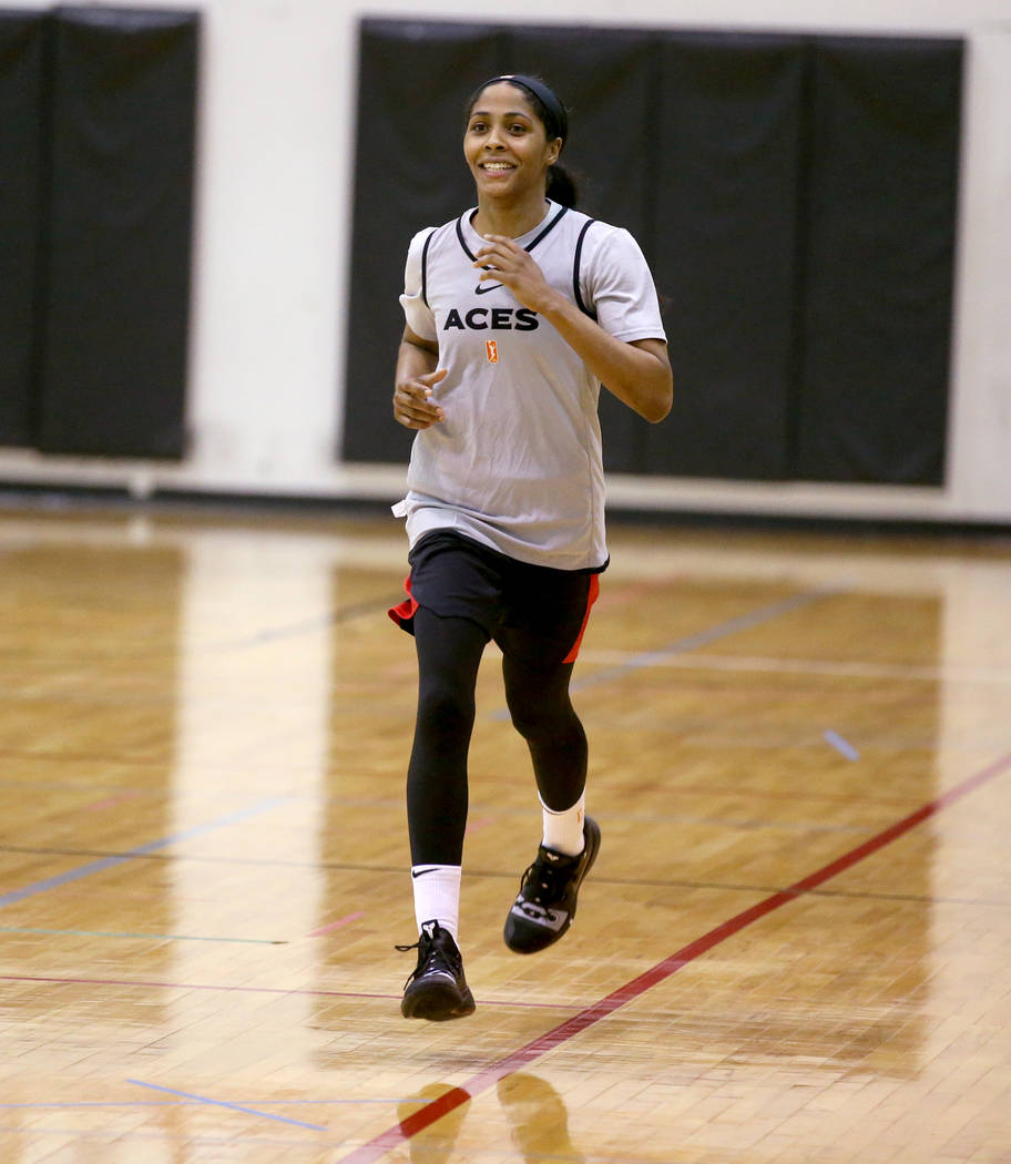 Veteran guard Sydney Colson runs during practice at the Cox Pavilion in Las Vegas Wednesday, Ma ...