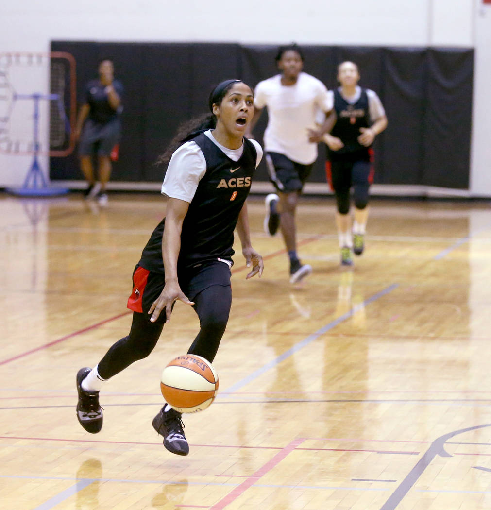 Veteran guard Sydney Colson drives during practice at the Cox Pavilion in Las Vegas Wednesday, ...