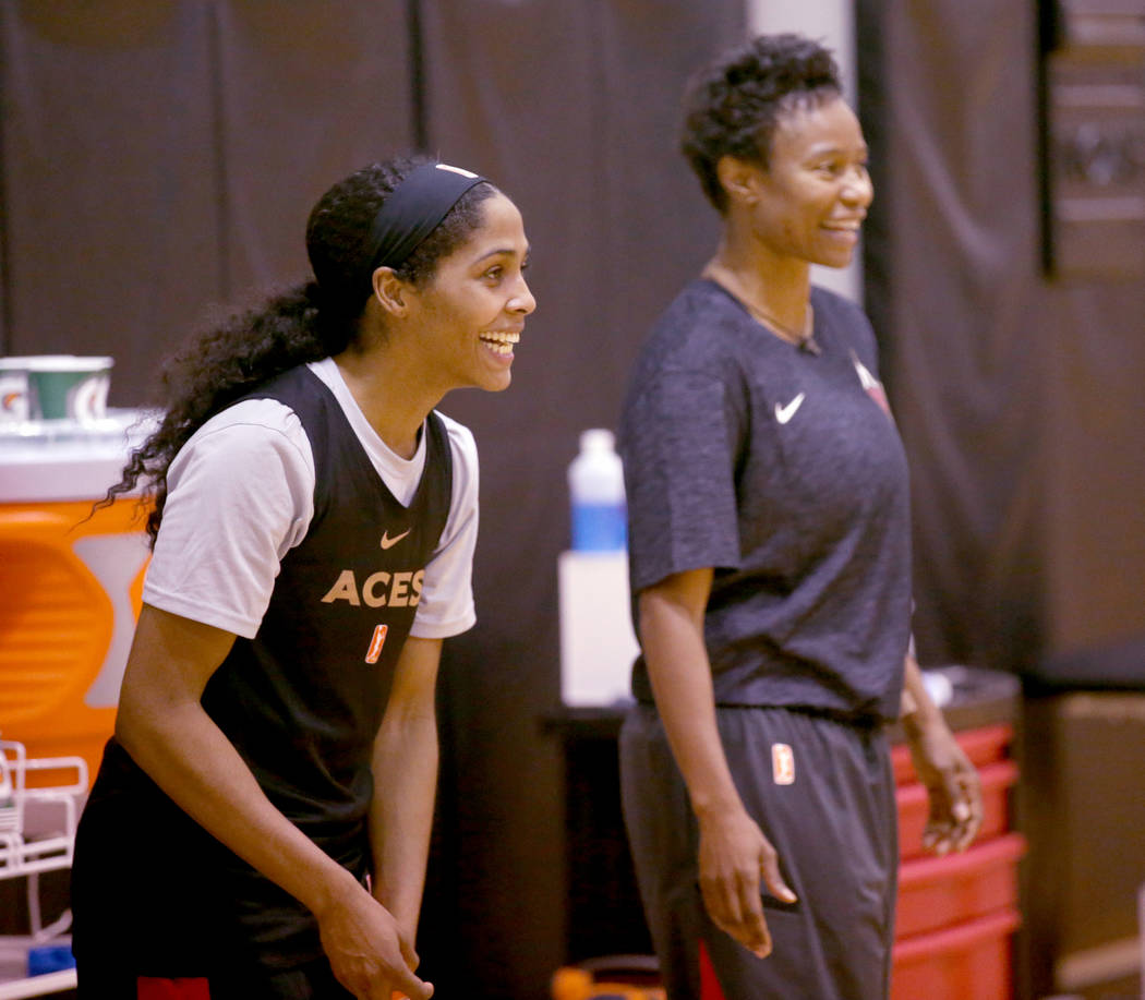 Veteran guard Sydney Colson talks to Assistant Coach Vickie Johnson during practice at the Cox ...