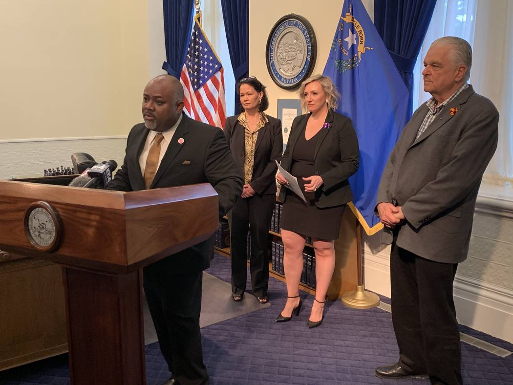 Assembly Speaker Jason Frierson, D-Las Vegas, speaks on new proposals to increase education fun ...