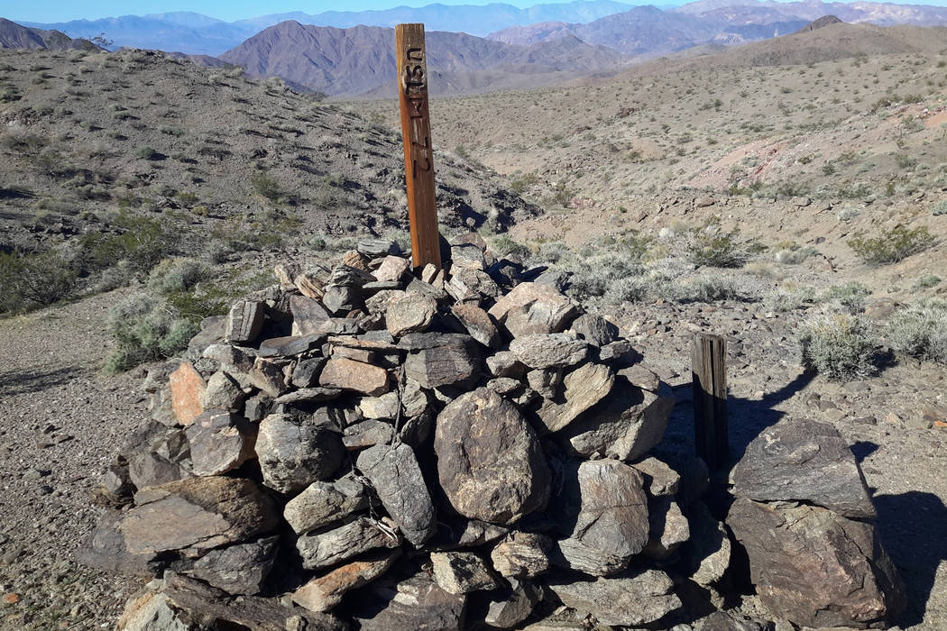 An undated photo shows a historic mine marker on once-private land in the Panamint Mountains th ...