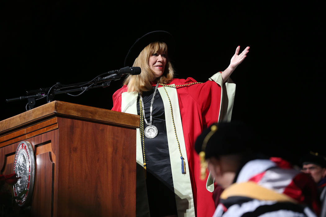 UNLV president Marta Meana speaks during the UNLV commencement ceremony at the Thomas & Mac ...