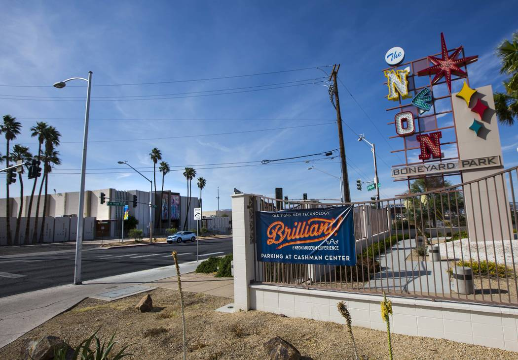 A view of the Reed Whipple Cultural Center, left, located across the street from The Neon Museu ...