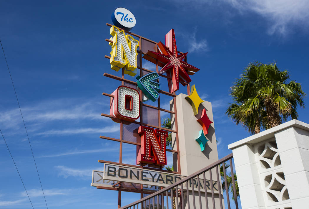 A view of the Neon Boneyard park, across the street from The Neon Museum, in Las Vegas on Tuesd ...