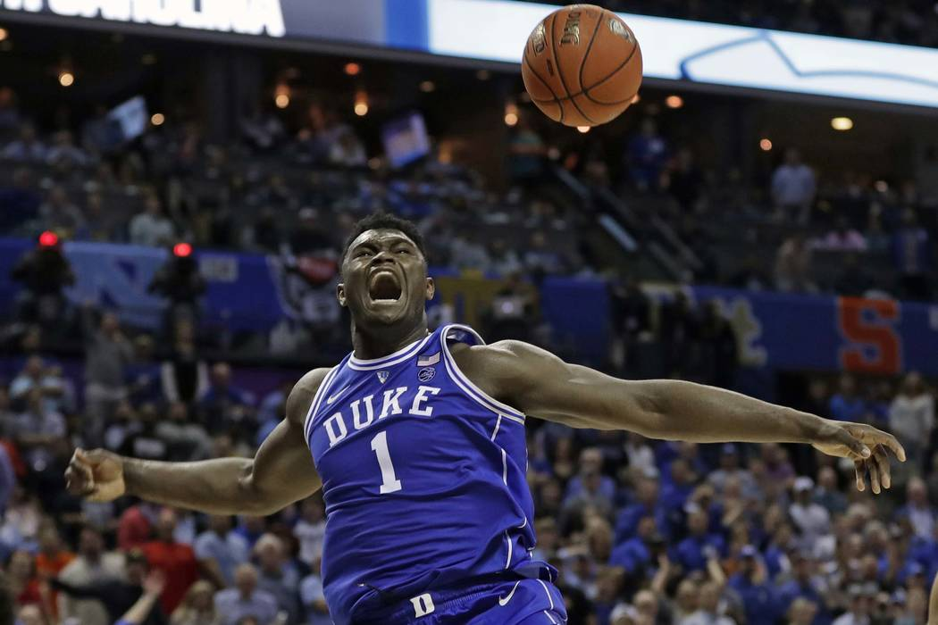 ae6470b3a451 Duke s Zion Williamson (1) reacts after a dunk against North Carolina  during the second