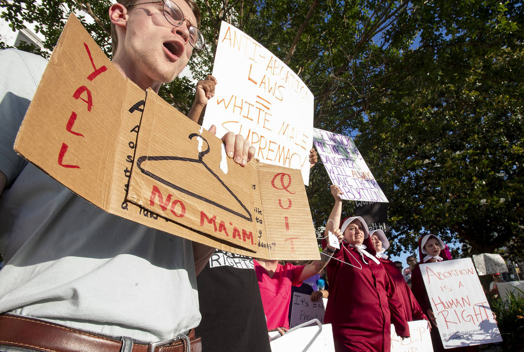 Dana Sweeney chants during a rally against HB314, the near-total ban on abortion bill, outside ...
