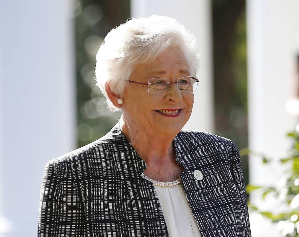 FILE - In this Friday, Nov. 17, 2017 file photo, Alabama Gov. Kay Ivey speaks to the media in M ...