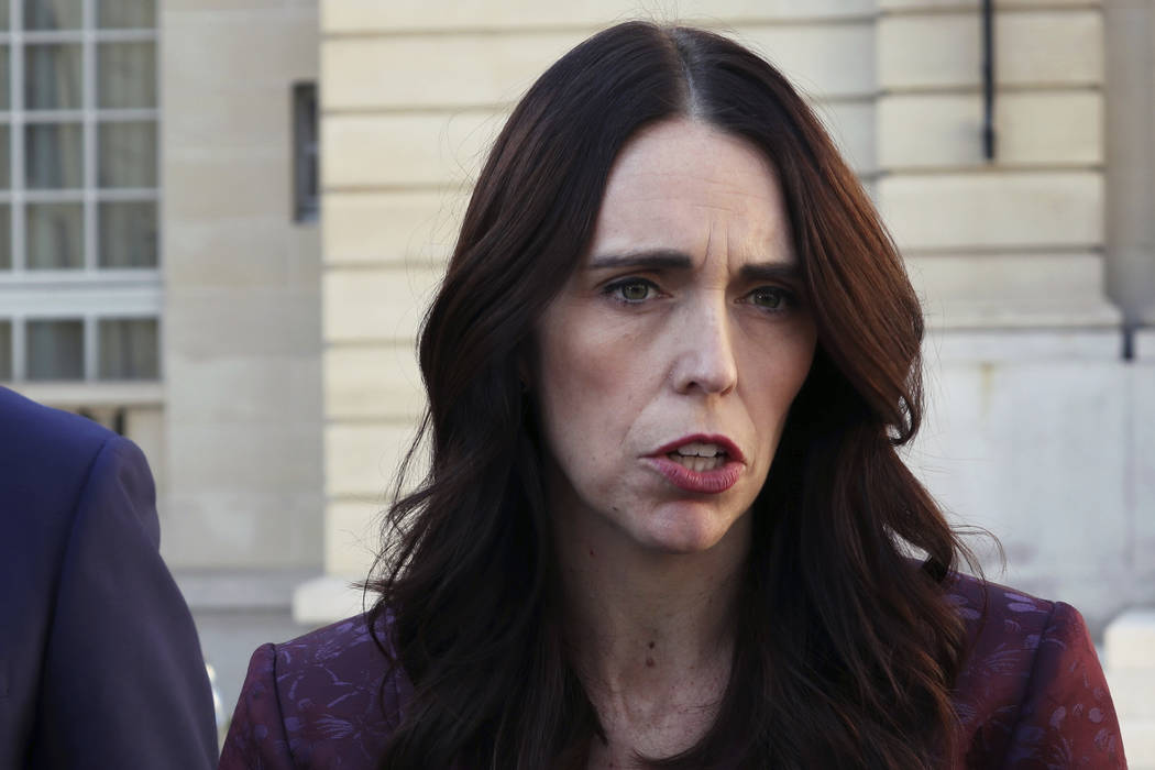 New Zealand Prime Minister Jacinda Ardern gives a press conference, at the OECD headquarters, i ...