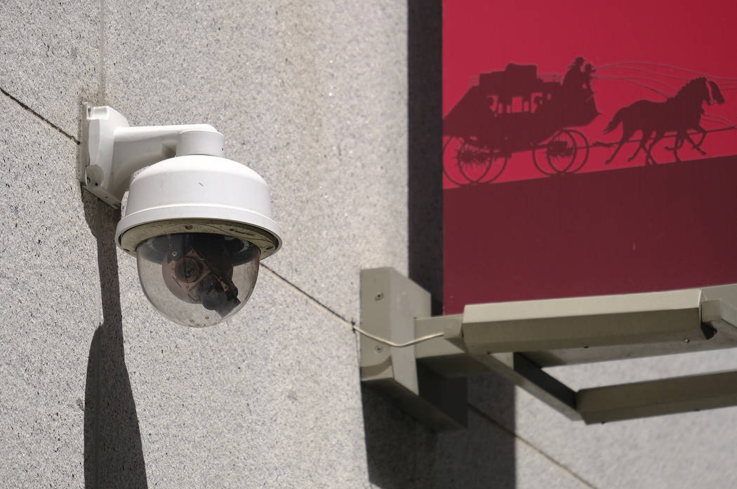 This photo taken Tuesday, May 7, 2019, shows a security camera in the Financial District of San ...