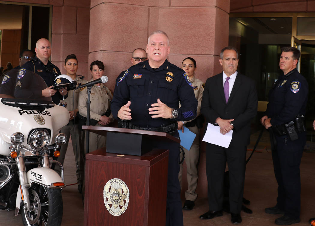 Clark County School district police Chief James Ketsaa speaks during a press conference as CCSD ...