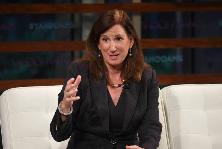 FILE - In this Sept. 20, 2018 file photo, Deloitte CEO Cathy Engelbert participates in the Yaho ...