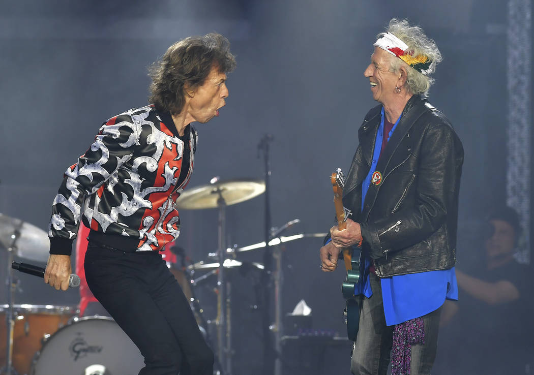 In this May 25, 2018 file photo, Mick Jagger, left, and Keith Richards, of The Rolling Stones, ...
