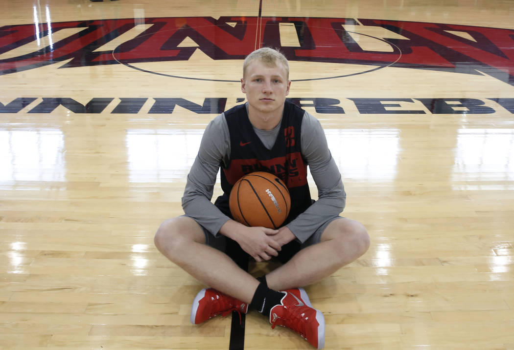 UNLV guard Trey Woodbury poses for photo before team practice on Friday, Sept. 28, 2018, in Las ...