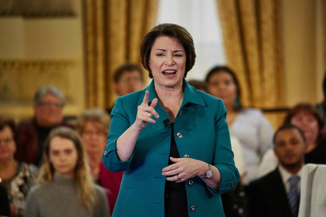 Democratic presidential candidate Sen. Amy Klobuchar, D-Minn., speaks during a Fox News Channel ...