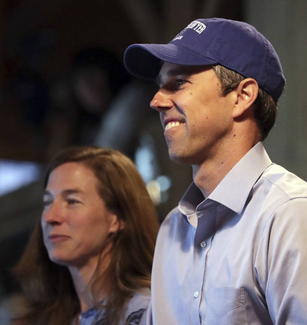 Democratic presidential candidate and former Texas Congressman Beto O'Rourke smiles as he stand ...