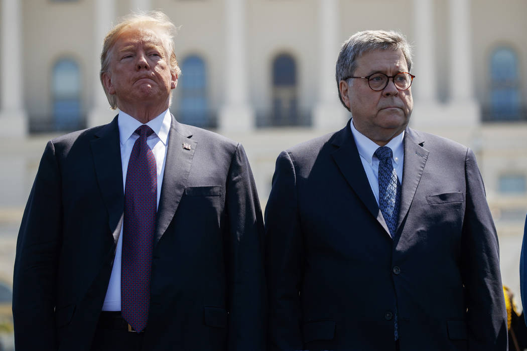 President Donald Trump stands with Attorney General William Barr during the 38th Annual Nationa ...
