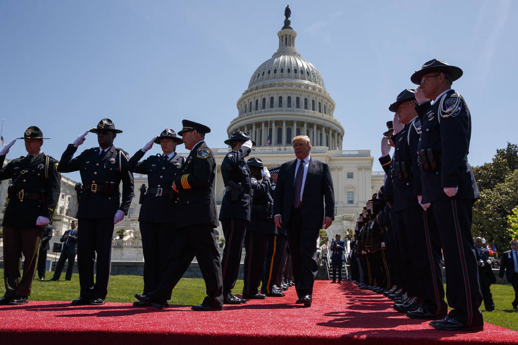 President Donald Trump arrives to deliver remarks to the 38th Annual National Peace Officers' M ...