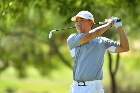 UNLV's Justin Kim hits a shot during the second round of the NCAA regional at TPC of Myrtle Bea ...