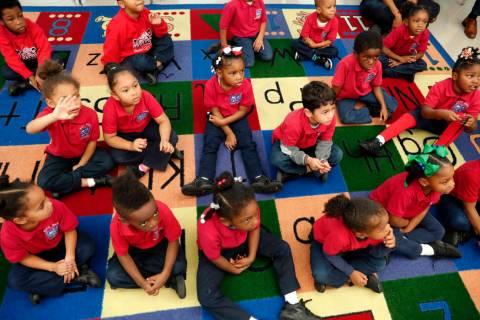 Students participate in a pre-kindergarten class at Alice M. Harte Charter School in New Orlean ...