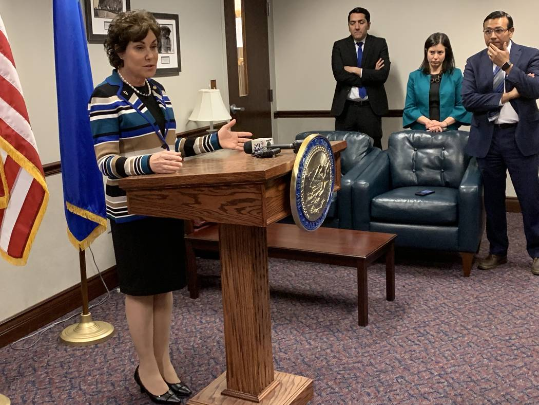 Sen. Jacky Rosen taking questions from reporters Monday after addressing a joint session of the ...