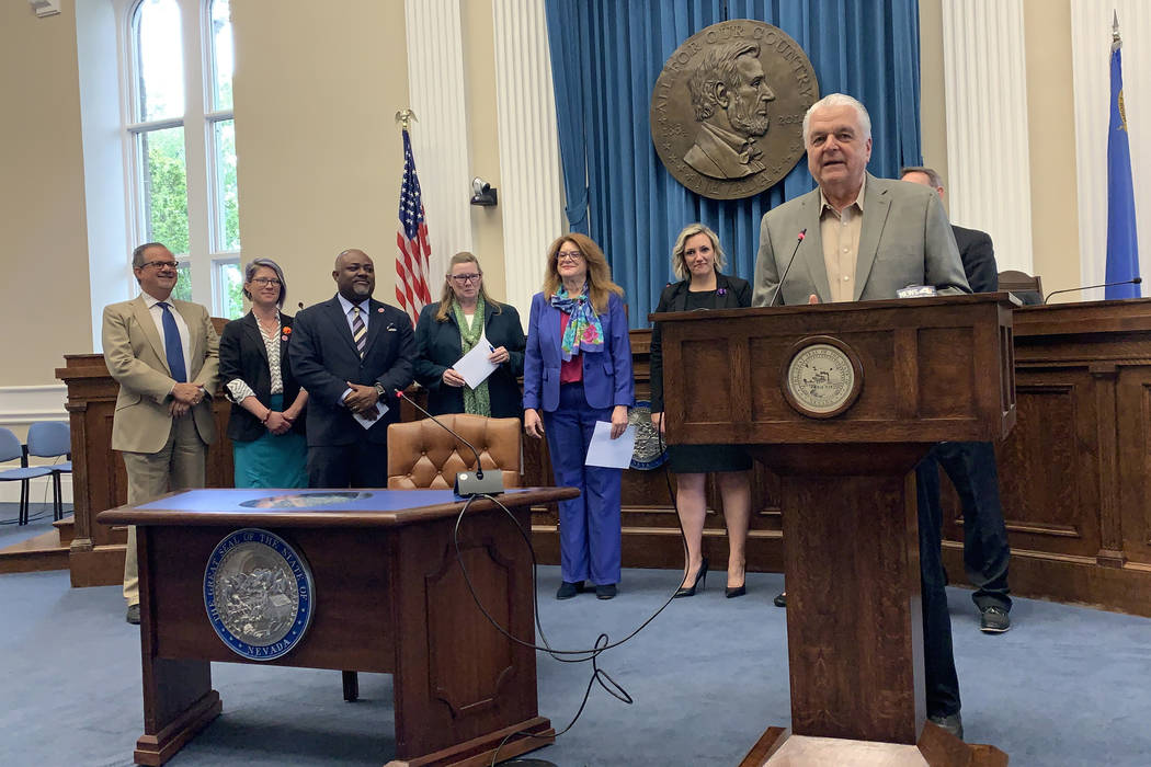 Gov. Steve Sisolak speaks Wednesday at the signing of two health care-related bills. One aims a ...