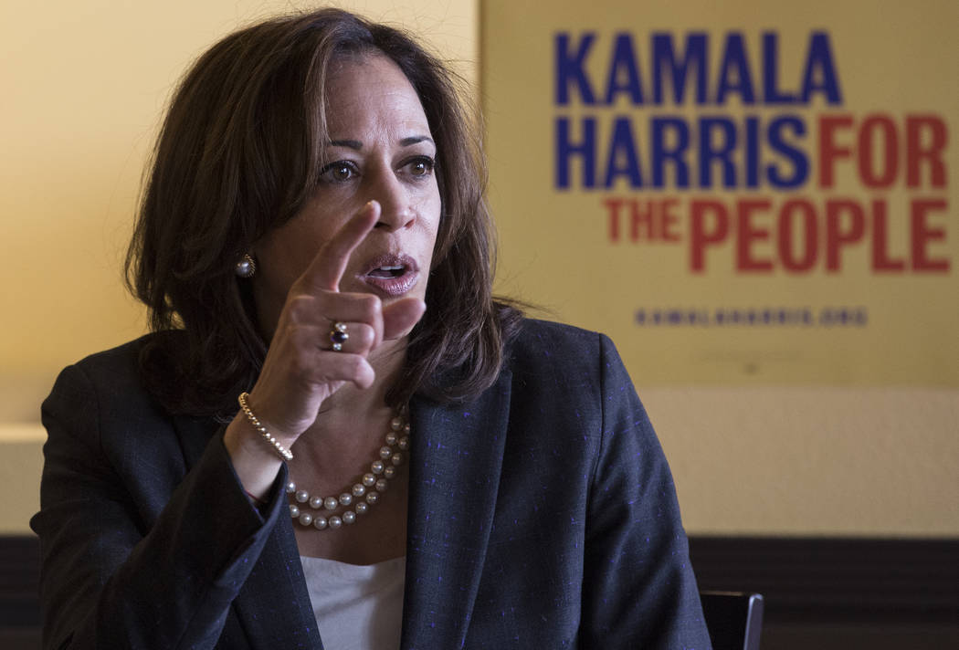 Presidential candidate Sen. Kamala Harris, D-Calif., addresses the audience during a meet and g ...