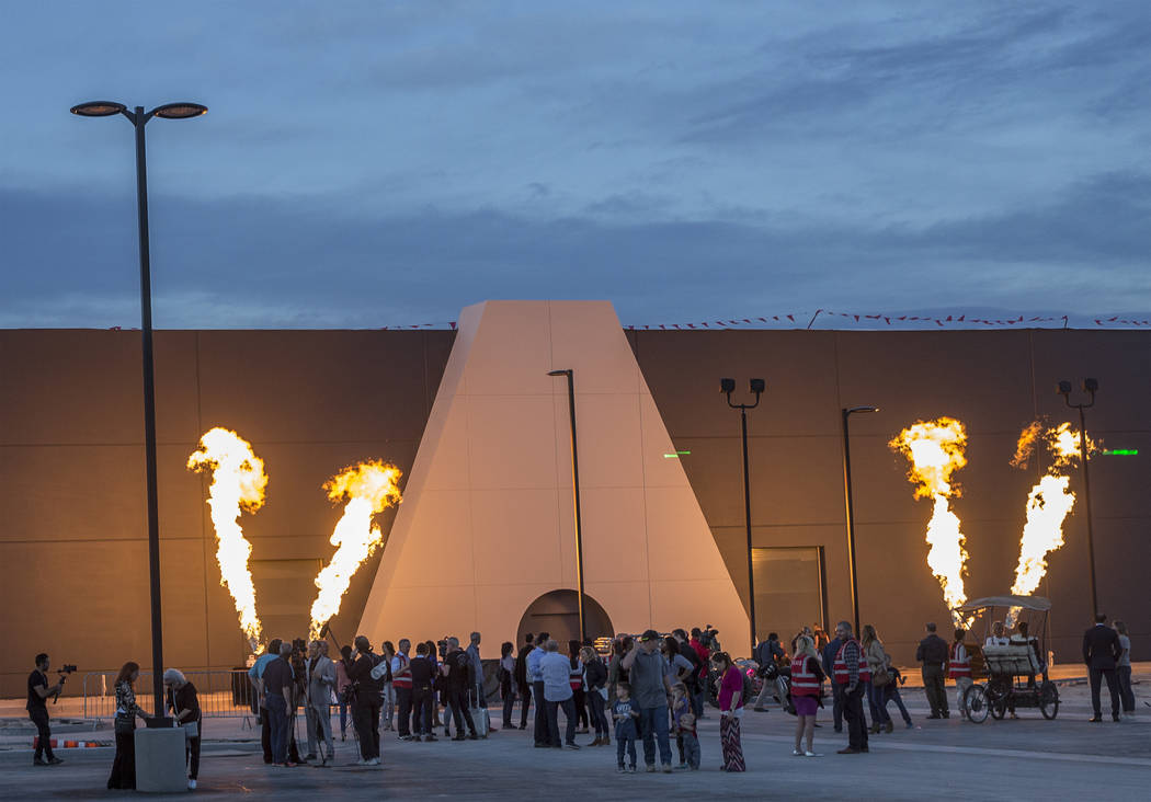 Guests enjoy pyrotechnics marking the unveiling of the entryway of AREA15, an experiential reta ...