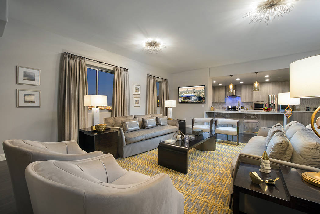 The twin-tower high-rise, One Las Vegas, on the south Strip offers a 19th-floor 2,857-square-fo ...