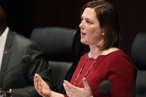 Becky Harris asks a question during a Gaming Control Board meeting in Las Vegas in 2018. (K.M. ...