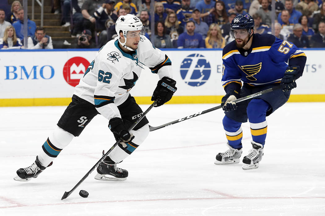 San Jose Sharks right wing Kevin Labanc (62) moves the puck against St. Louis Blues left wing D ...