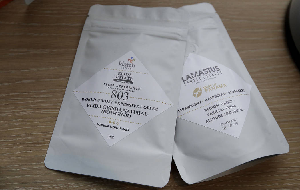 Packages of Elida Natural Geisha coffee are shown at Klatch Coffee in San Francisco, Wednesday, ...