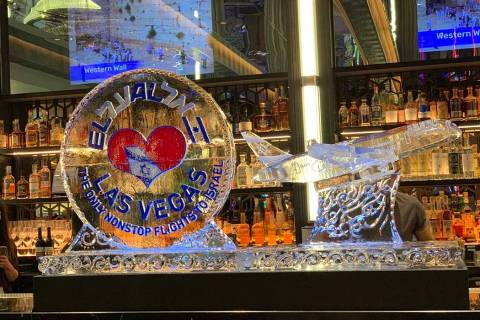 An ice sculpture made for El Al Airlines' Las Vegas to Tel Aviv nonstop flight service celebrat ...