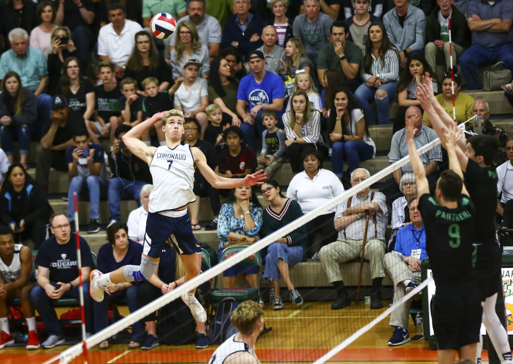 Coronado's Jacob Ceci (7) looks to send the ball to Palo Verde during the Class 4A state volley ...