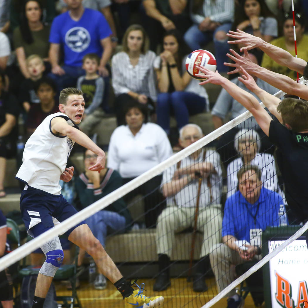 Palo Verde defenders block a shot from Coronado's Alex Winiarczyk (9) during the Class 4A state ...