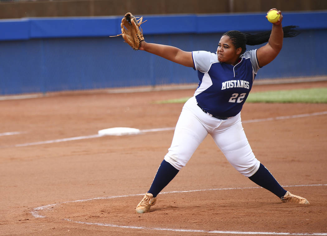Shadow Ridge's Alyssa Stanley (22) pitches to McQueen during the second round of the Class 4A s ...