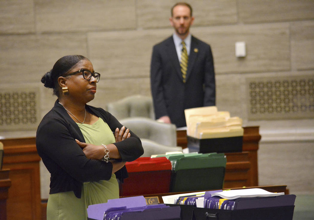 During debate in the Missouri Senate in Jefferson City Wednesday, May 15, 2019, Freshman senato ...