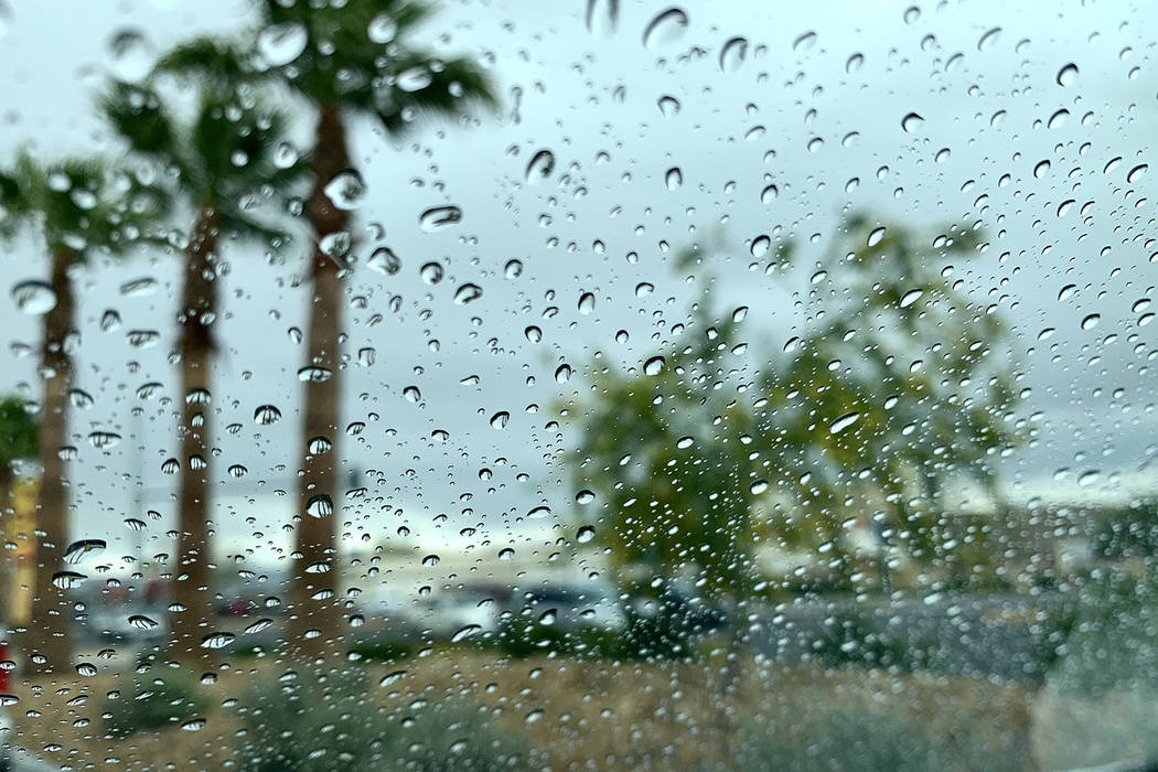 Rain is seen on a window in Las Vegas on Thursday, May 16, 2019. (Caitlin Lilly/Las Vegas Revie ...