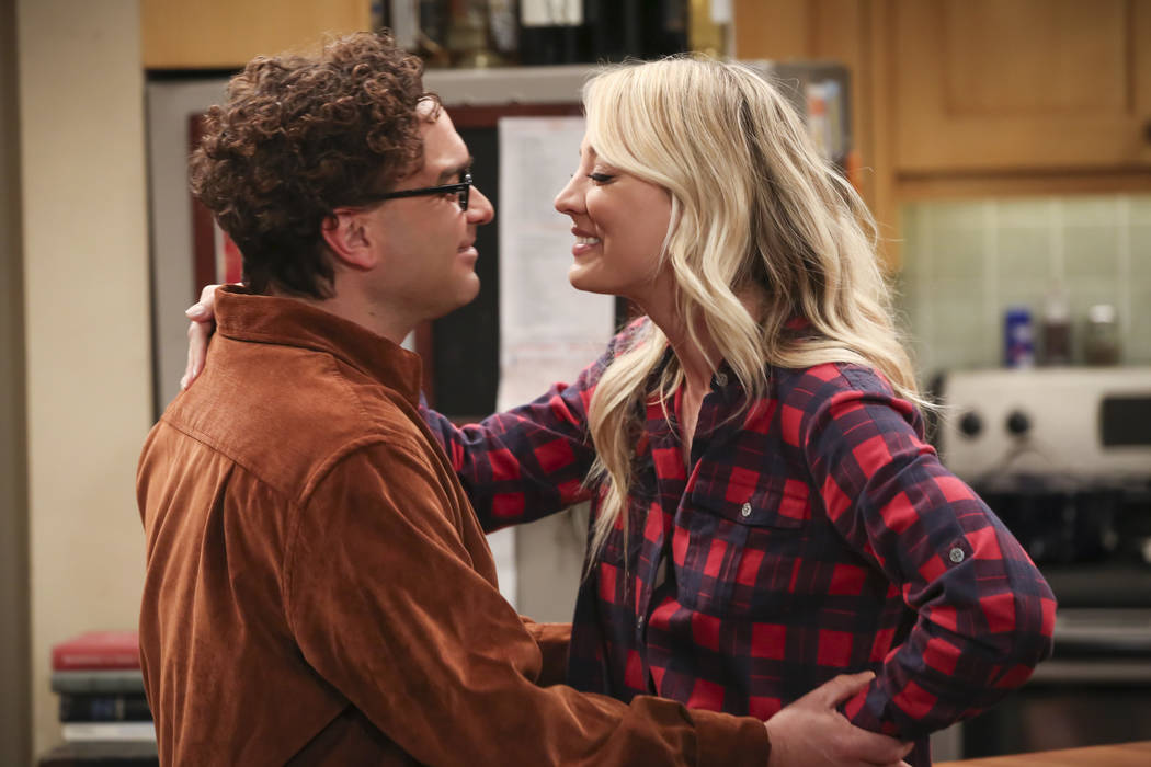 This image released by CBS shows Johnny Galecki, left, and Kaley Cuoco in a scene from the seri ...