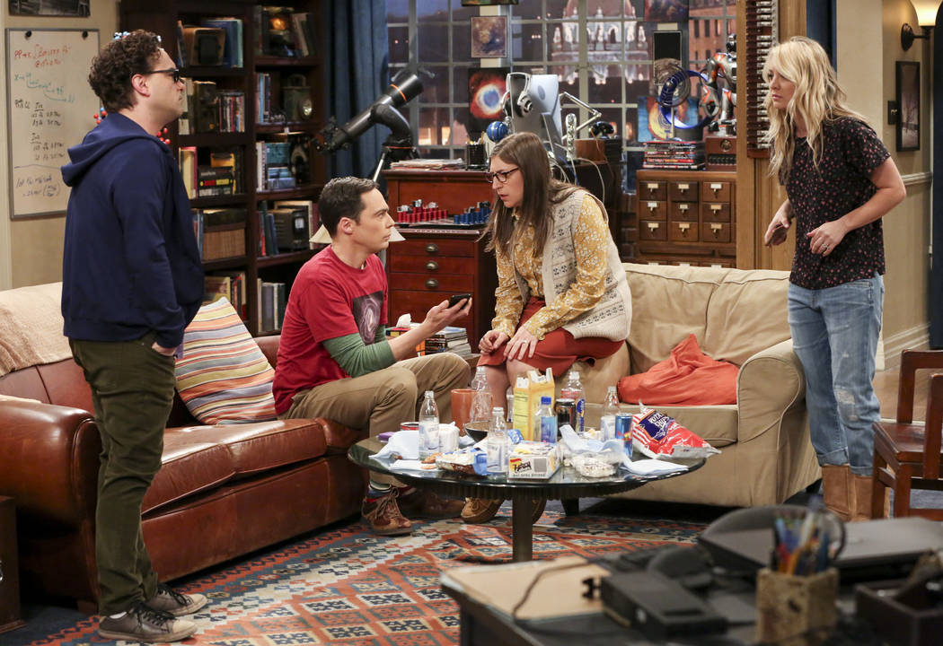 This image released by CBS shows, from left, Johnny Galecki, Jim Parsons, Mayim Bialik and Kale ...