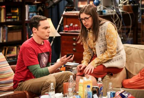 This image released by CBS shows Jim Parsons, left, and Mayim Bialik in a scene from the series ...