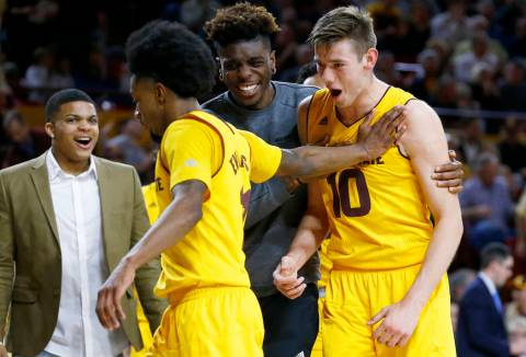 Arizona State forward Vitaliy Shibel (10) celebrates his dunk against Southern California with ...