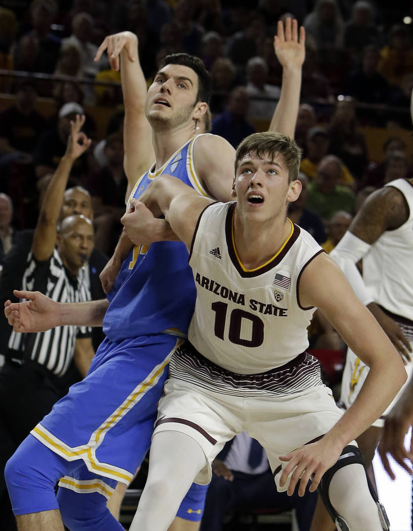 Arizona State forward Vitaliy Shibel (10) in the first half during an NCAA college basketball g ...