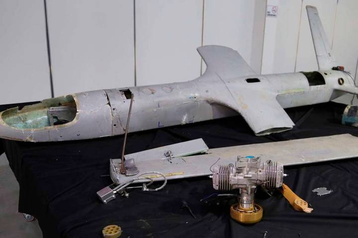 In this undated photograph obtained by The Associated Press, a UAV-X drone flown by Yemen's Hou ...