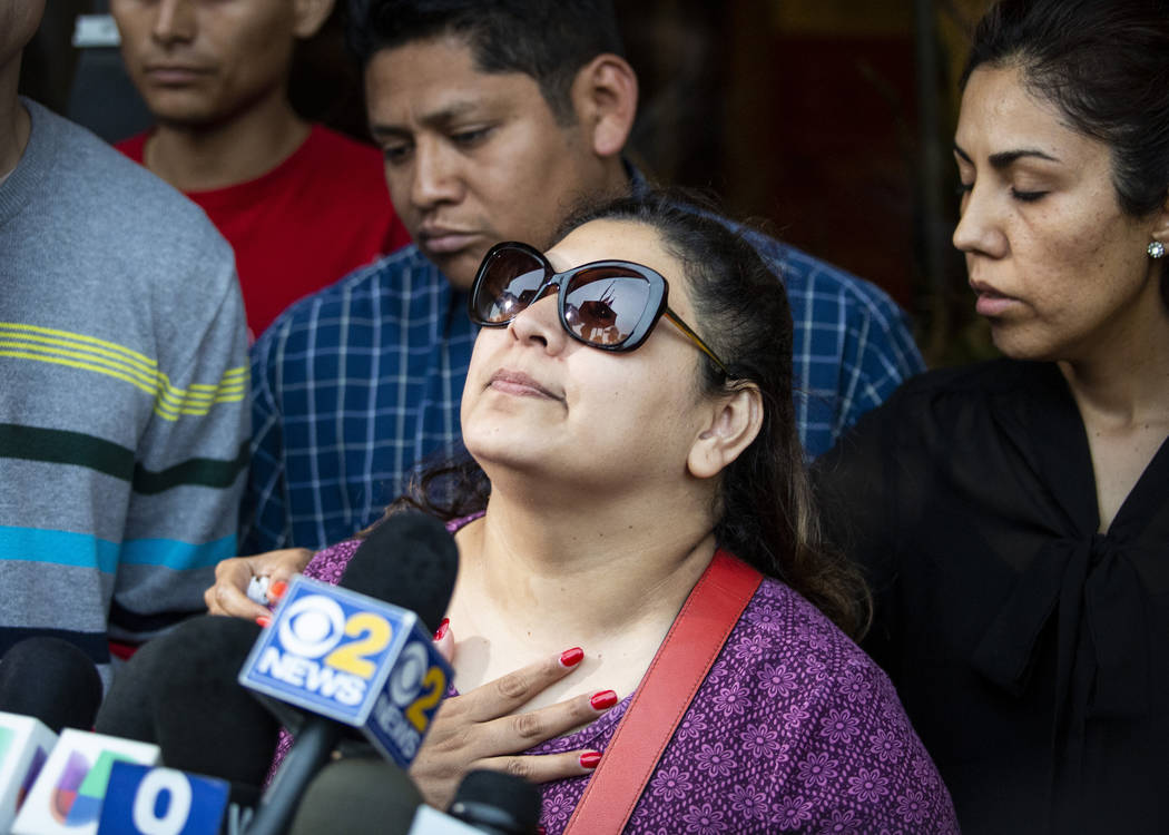 Surrounded by family members and supporters, Marlen Ochoa-Lopez's mother, Raquel Uriostegui, ta ...