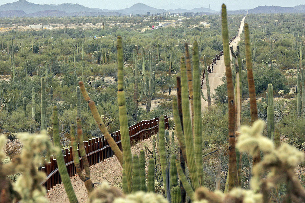 FILE - This Feb. 17, 2006 file photo shows a fence separating Organ Pipe Cactus National Monume ...