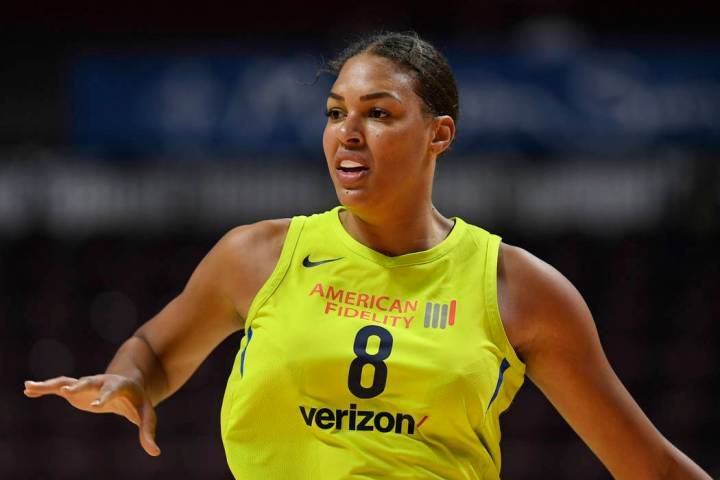 Dallas Wings' Liz Cambage during a preseason WNBA basketball game, Tuesday, May 8, 2018, in Unc ...