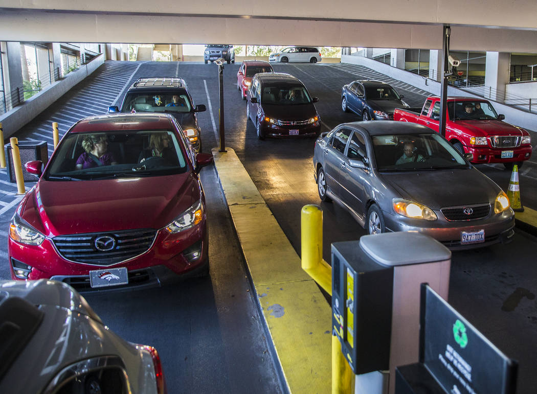 Cars line up to pay for parking at MGM Grand on Thursday, May 16, 2019, in Las Vegas. (Las Vega ...