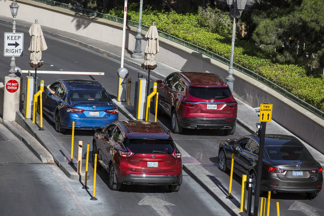 Cars line up to pay for parking at Bellagio on Thursday, May 16, 2019, in Las Vegas. (Las Vegas ...